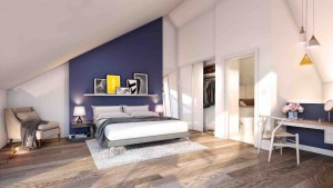 A CGI of a bedroom at Residenza in Ancoats