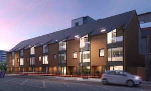 a cgi of the front of Residenza, a new development in Ancoats